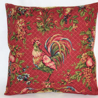 "Waverly Red Rooster Pillow In Saison de Printemps Rouge Chicken Toile, Reversible Gingham Check, 18"" Square, Cover Only or Insert  Included"