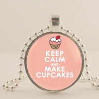 """Keep calm and make cupcakes, pink,  1"""" glass and metal Pendant necklace Jewelry."""