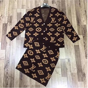 LV Louis Vuitton Women Fashion Cardigan Long Sleeve Top Skirt Two-Piece From Bailianyi