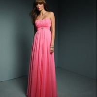 Beautiful Flowing Chiffon Strapless Party Dress With Crystal Embellishment ML268