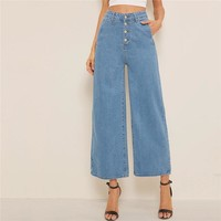 Button Fly Loose Wide Leg Denim Jeans Women Solid High Waist Crop Casual High Street Ladies Jeans