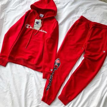 Champion suit chest letter print sweater ladies high quality suit sweater red