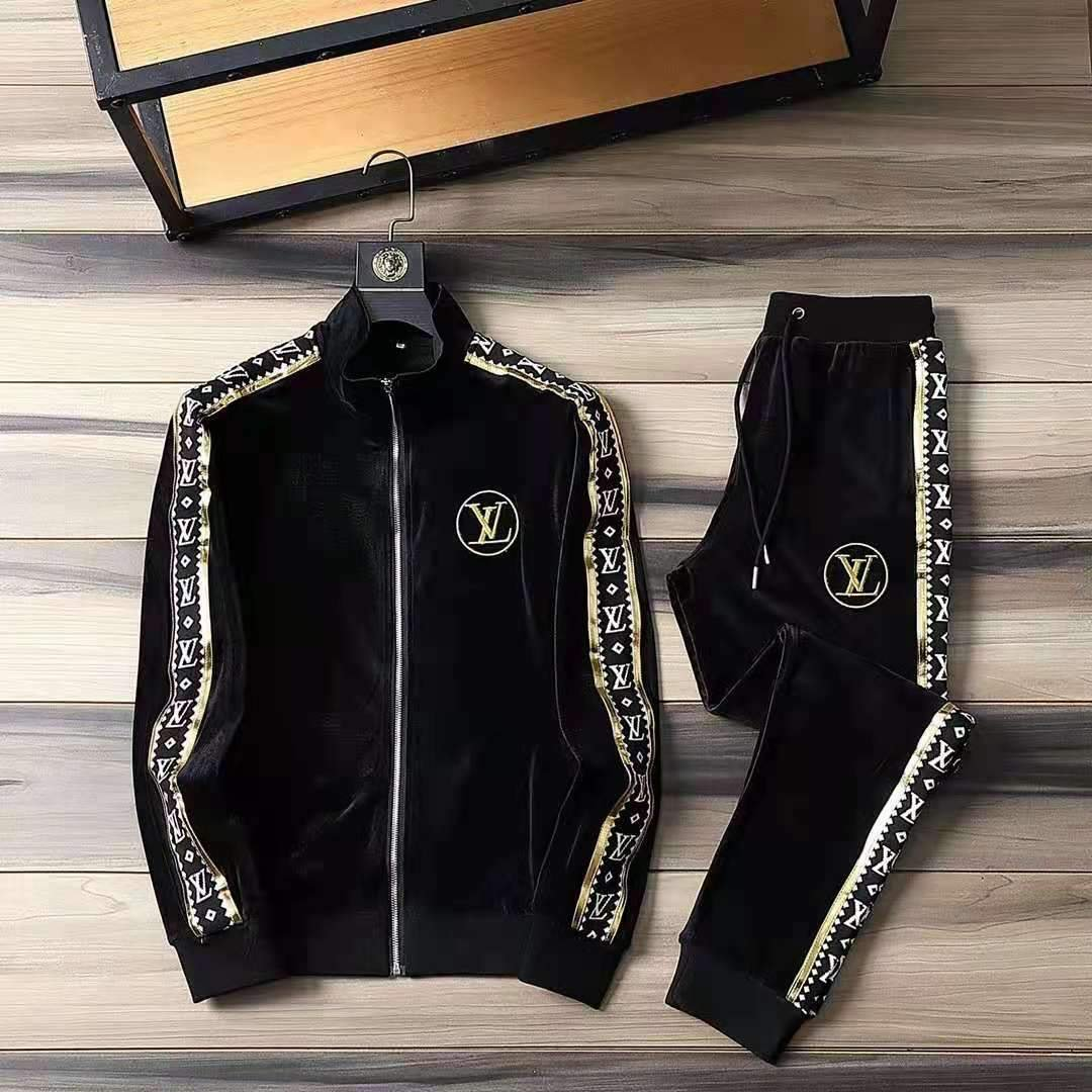 Image of LV Louis Vuitton Top Gift 2021new color matching letter printing sports suit two-piece