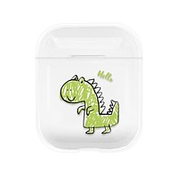 Crystal Clear Cute Cartoon Dinosaur and More - Protective Case Cover Compatible with the Apple Airpods Gen 1 or 2 with Wireless Charging Headphones