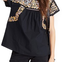 Madewell Fleur Embroidered Top   Nordstrom