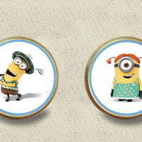 despicable kevin plated stud post earrings Handmade Despicable Me 2 Minion meme plated stud post earrings