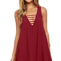 Lucy Love Cage Wine Red Swing Dress