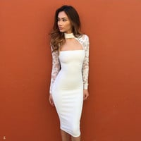Lace Long Sleeve High collar Halter Sexy Slim Fit Package Hip Bodycon Dress