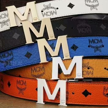 MCM Woman Fashion Smooth Buckle Belt Leather Belt