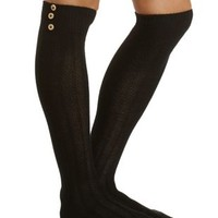 Button-Topped Over-the-Knee Socks by Charlotte Russe