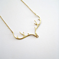 Gold Antler Necklace Deer Antler Jewelry Gold Necklace Country Wedding Gift Country girl Bridesmaid Jewelry