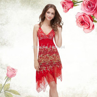 Weddings Events Special Occasion Lace cocktail Dresses Sequin Fancy Flowing For Party Evening 2016 HE00045