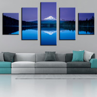 5 Piece mountain lake reflection Modern Home Wall Decor Canvas Picture Art Print WALL Painting Set of 5 Each Canvas Arts Unframe