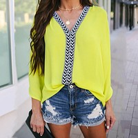 fhotwinter19 new style hot sale solid color V-neck bat sleeve women's chiffon top