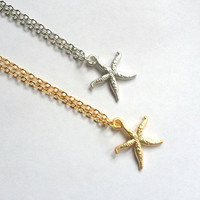Silver or Gold STARFISH Necklace, Yoga Jewelry, Layering necklace, mother, wife, sister, daughter, Yoga Necklace, layered,  wedding jewelry