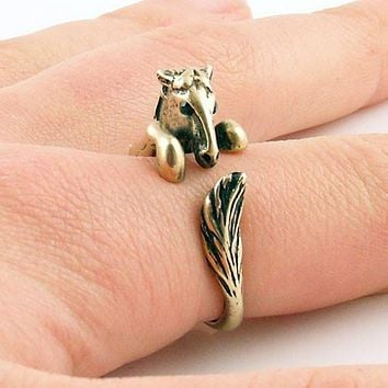 Animal Wrap Ring - Horse - Yellow Bronze - Adjustable Ring - keja jewelry