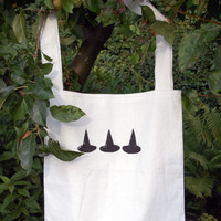 cotton tote bag ~ witch hats ~screen printed ~ witchcraft ~whimsical ~Wicca