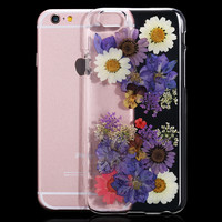 2016 New For iPhone 6 6S For iPhone6 Plus / 6S Plus Case Genuine Dried Flower Handmade Cover Clear Transparent Phone Case i6 4.7
