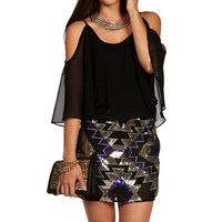 Black Cold Shoulder Sequin Combo Tunic
