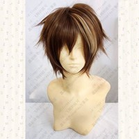 Guilty Crown OUMA SHU Short Brown Mix Fluffy Layered Synthetic Hair Cosplay Anime Wigs + Free Wig Cap