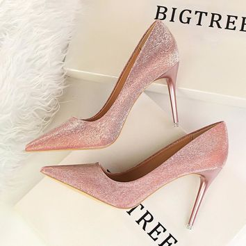 Solid Color Fashion Women Pointed Toe High Heels Shoes