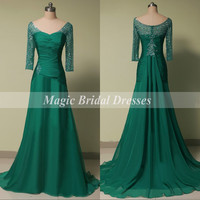 Elegant Scoop Evening Dress with Beading Sequin A-line Chiffon Long Evening Gown Three Quarter Sleeves Mother of the Bride Dress Sweep train