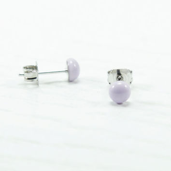 Lilac Tiny Stud Earrings - Stud - Purple Lavender Small Studs - Polymer Clay Resin Earrings - Little Studs - Romantic Victorian Fashion 4mm