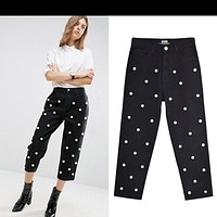 2020 New Products Women's Studded Large Pearl High Waist Straight Loose Wide Leg Pants