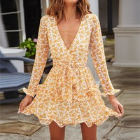 Ruffles V Neck Sexy Party Dresses Women Long Sleeve Boho Floral Print Elegant Mini A Line Wrap Dress With Sashes