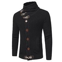 Men's Round Neck Horn Button Single Breasted Cardigan