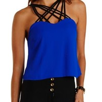 Neon Cobalt Strappy Caged Color Block Tank Top by Charlotte Russe