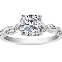 Engagement Ring - Cushion Diamond Petite twisted pave band Engagement Ring in 14K White Gold - ES873CUWG