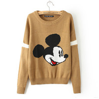 Winter Women's Fashion Cartoons Mouse Sweater Pullover Round-neck Long Sleeve Knit Tops Jacket [8216433025]