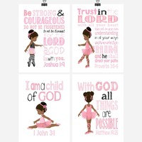 African American Ballerina Christian Nursery Decor Wall Art Set of 4 Prints in Pink and Black