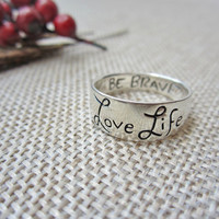 vintage ring, sterling silver, love brave life, size 7 1/2, silver ring, 925 silver, inspiration gift, silver band, friendship ring