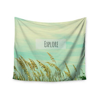 """Robin Dickinson """"Explore"""" Quote Green Wall Tapestry"""