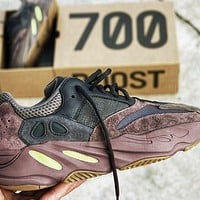 Bunchsun ADIDAS YEEZY 700 V2 BOOST Tide brand men and women fashion wild retro sports shoes coffee