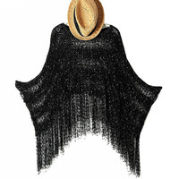 Plus Size Batwing Sleeve Scarf Tassels Round-neck Pullover Knit Tops Sweater [6331613380]
