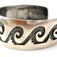Zuni Terry Wadsworth Sterling Silver Overlay Cuff Bracelet Water Symbols