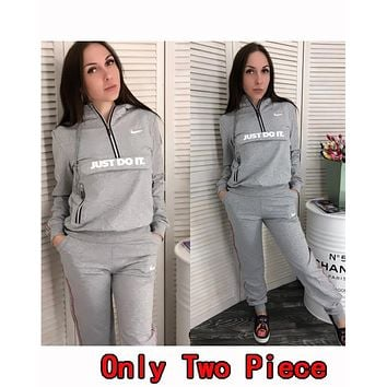 Nike Popular Women Casual Hoodie Top Sweater Pants Trousers Set Two-Piece Sportswear Grey