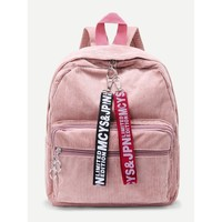 Slogan Ribbon Corduroy Backpack