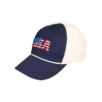 Patriotic USA Needlepoint Rope Snapback Hat in Navy and White by Smathers & Branson