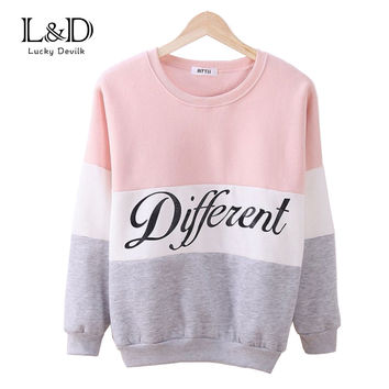 Pink Gray White Autumn and Winter Women's Fleece Hoodie Different Printed Letters Tracksuit Casual Sweatshirt