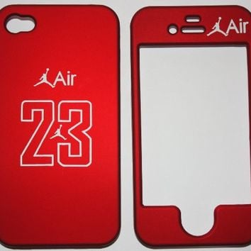 Licensed Jordan Air 23 RED basketball Apple iPhone 4 Faceplate Hard Cell Protector Case Housing Cover Snap On NEW !!