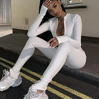 Casual Fitness Sporty Rompers Womens Jumpsuits Workout Zipper Activewear Long Sleeve Skinny Solid Jumpsuits Bodycon