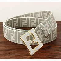 FENDI Popular Woman Men Classic F Letter Smooth Buckle Belt Leather Belt(8-Color) Coffee I12815-1