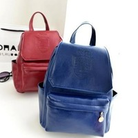 Fall Style College Back To School Stylish Casual Crown PU Leather Backpack [6580918151]