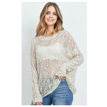 Darling Cold Shoulder Oatmeal Coverup Top