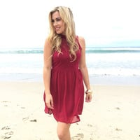 Chelsea Babydoll Dress In Burgundy