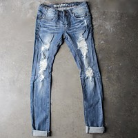 5th Street Distressed Skinny Denim Jeans in Medium Wash